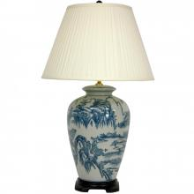 "29"" Blue and White Chinese Landscape Lamp"