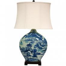 "32"" Blue and White Ming Landscape Vase Lamp"