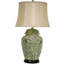 "25"" Jade Green Birds and Flowers Lamp"