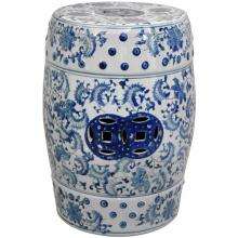 "18"" Floral Blue & White Porcelain Garden Stool"