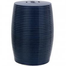 """18"""" Dark Blue Ribbed Porcelain Garden Stool"""