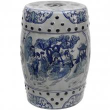 "18"" Ladies Blue and White Porcelain Garden Stool"