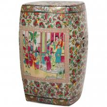 """18"""" Rose Medallion Square Porcelain Garden Stool"""