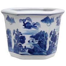 "10"" Landscape Blue and White Porcelain Flower Pot"