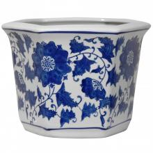 "10"" Floral Blue & White Porcelain Flower Pot"