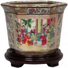 """10"""" Rose Medallion Porcelain Flower Pot"""