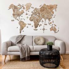 Terra 3D Wooden World Map