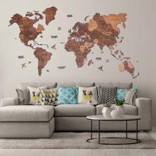 Oak 3D Wooden World Map