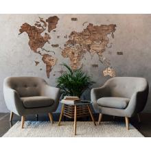 Dark Walnut 3D Wooden World Map